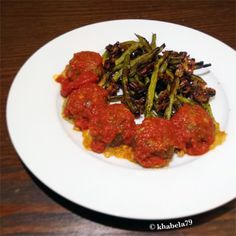 Dinner - Chorizzo Cheddar Meatballs and Roasted Pecan Green Beans