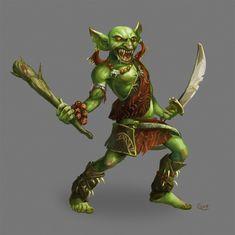Goblin Barbarian by Nightblue-art on DeviantArt Fantasy Rpg Games, Fantasy Races, Fantasy Warrior, Fantasy Art, Goblin Art, Goblin King, Dnd Characters, Fantasy Characters, Fantasy Character Design