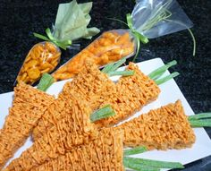 Carrots for the easter bunny (rice krispie treats)