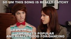 """So, um, this song is really catchy. I hear it's popular and really good for dancing."" These videos are why I finally read Pride and Prejudice. :) Love the Lizzie Bennet Diaries! Click through for the gif."