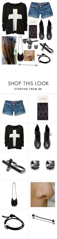 """""""Undone you're no different than all the rest, a life full of greed with no heart in your chest."""" by rocketsheep ❤ liked on Polyvore featuring Hydraulic, Pull&Bear, H&M, Ray-Ban, Juicy Couture, Hot Topic, cross, memphismayfire and memphismayfirelyrics"""