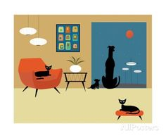 Mid Century Modern Dogs and Cats Photographic Print by Donna Mibus at AllPosters.com