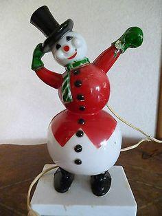Vintage ROSBRO Plastic Light Up Snowman