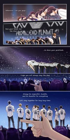 """ What I admire from EXO is their humbleness. They never change, even after they gained lot in this 5 years. So this comic is what I want to say to EXO."" As a fellow Exo-L I couldn't agree more thank you for this beautiful comic strip~💕 Kpop Exo, Exo Bts, K Pop, Exo Cartoon, Exo Anime, Exo Group, Exo Album, Exo Fan Art, Exo Lockscreen"