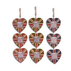 """Hanging Union Jack Wooden Heart Photo Frame 2 x 2"""" 5 x 5cm Three Designs To Choose From £6.99"""