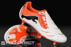 Puma Footbal Boots - Puma PowerCat 1.10 - Soft Ground - Soccer Cleats - White/Black/Team Orange