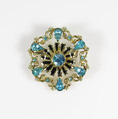 Vintage Coro Blue Rhinestone Gold Tone Flower Brooch Pin, Faux Aquamarine Enamel Floral Brooch Pin, Rhinestone Sweater Lapel Scatter Pin