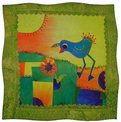 Little Bird by Laura Wasilowski Scrappy Quilts, Mini Quilts, Iron On Applique, Small Quilts, Quilt Patterns, Birds, Embroidery, Painting, Appliques