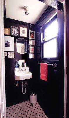 High Contrast Powder Room Dark Walls White Beadboard
