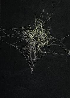 "ronbeckdesigns:  "" Sandra Selig, Spider Web, 2010 / spider silk, enamel and fixative on paper  """