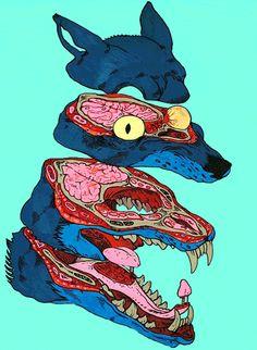 Картинки через We Heart It https://weheartit.com/entry/150110929/via/19806736 [анимация] #psychedelic #wolf #crazything