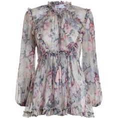 ZIMMERMANN Jasper Floral Ruffle Top found on Polyvore featuring tops, blouses, dresses, shirts, vestido, long sleeve blouse, ruffle shirt, tie-neck blouses, sheer blouse and floral sleeve shirt