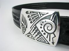 Native American Design Antique Silver Buckle Fits 1 12 Belts Southwestern Turquoise and Feathers Premium Quality
