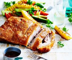 Crispy pork belly with pineapple salad recipe - By Australian Women's Weekly, Crispy succulent pork belly with a fresh zesty pineapple salad - the ultimate summer BBQ feast! Full of delicious flavours and wholesome ingredients, this dish will have you swooning for more!
