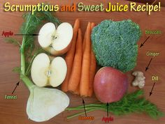 Scrumptious and Sweet Juice Recipe: Look at all of the nutrient loaded vegetables, fruits, and herbs in this one! Wow!  #juicing #juicerecipes #juicingrecipes