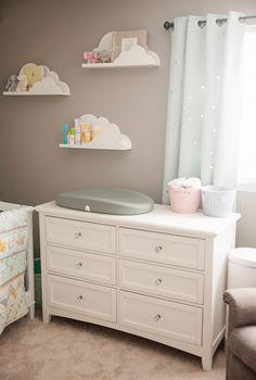 Boy Girl Gender Neutral Twin Bunny Nursery Reveal - Pillowfort Cloud Shelves Hatch Baby - Grow Smart Changing Pad & Scale