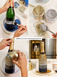Midnight Toast New Year's Eve Table + Ombre Glittered Champagne Bottles. Make pink, lavender and teal for Alice WeddingMidnight Toast New Year& Eve Table + Ombre Glittered Champagne Bottle Give your New Year's Eve party a big dose of glam with th Glass Bottle Crafts, Wine Bottle Art, Bottle Bottle, Alcohol Bottle Crafts, Wine Bottle Torches, Cutting Glass Bottles, Glitter Champagne Bottles, Bling Bottles, Glitter Mason Jars