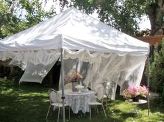 . . . Cabin & Cottage : Anatomy of A Summer Garden Party Turn an ordinary white tent into a wonderful party tent