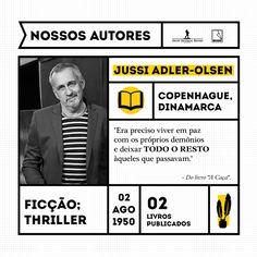 """Jussi Adler-Olsen é filho de psiquiatra e possui uma formação eclética. Cursou ciências políticas e se formou em cinema, obtendo dessas experiências diversas fontes de inspiração para escrever sobre temas tão complexos como males da mente humana.   O lançamento """"A Caça"""" é segundo volume da série Departamento Q."""