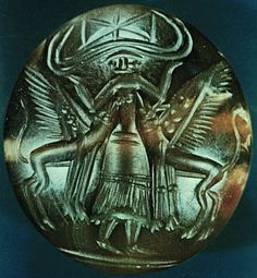 "Minoan  Potnia Theron   Minoan seal depicting the ""Mistress of the Animals"""