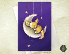 Carte de voeux Amitié Anniversaire Naissance Fennec et lune