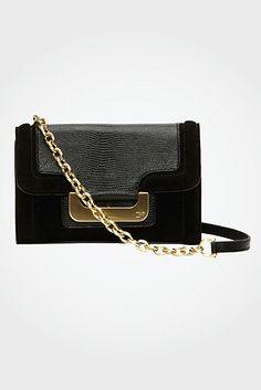 DVF-Harper Charlie Suede Bag In Black