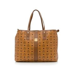 Pre-Owned MCM Heritage Liz Reversible Large Tote ($450) ❤ liked on Polyvore featuring bags, handbags, tote bags, brown, brown tote bag, brown purse, drawstring pouch, brown handbags and mcm tote bag