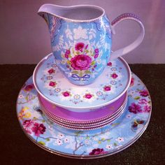 Pip Studio Large Blue Jug, Blue Blossom Mini Cake Tray, Pink Bird Plate & Blue Chinese Rose Large Plate