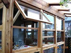 跳ね上げ&スライド窓 (1枚跳ね上げたところ) Interior Modern, Interior Design Living Room, Japanese Carpentry, Wooden Greenhouses, Glass Room, Home Board, Piece A Vivre, Open Window, Garden Styles