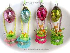 Spun cotton ornament  Easter Hot Air by MariePattersonStudio,
