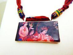 Indian Folk art Clay Tile pendant on Dark Burgundy Sari silk ribbon with Sand Cast beads.