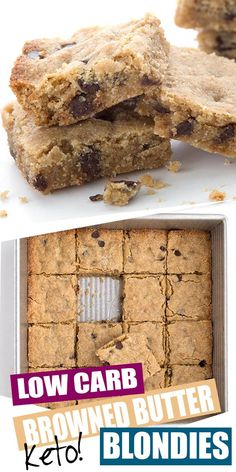 keto desserts Ever had brown butter? You've got to try it in these amazing keto sugar-free blondies! So rich and delicious, with a hint of caramel and plenty of chocolate chips. The best Keto Desserts, Keto Friendly Desserts, Dessert Recipes, Holiday Desserts, Carb Free Desserts, Fruit Dessert, Dessert Bread, Recipes Dinner, Cake Recipes