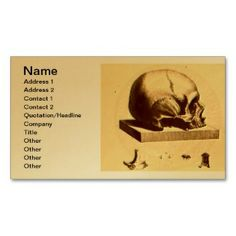 Skull Business Card printed on a gold colored background.  Other colors available.