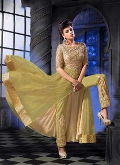 Cream Semi Georgette Zari And Stone Work Salwar Suit http://www.angelnx.com/Salwar-Kameez/Anarkali-Suits
