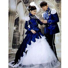 Creative Blue Adult Colonial Victorian Edwardian Military Couples Halloween Costumes SKU-307003