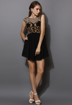 Heart Shape Sequins Embellished Dress