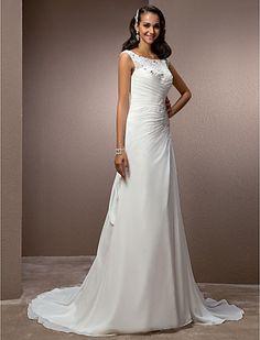 Sheath/Column Bateau Court Train Chiffon Wedding Dress - USD $ 227.69