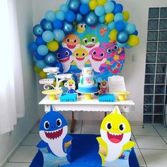 2nd Birthday Party For Boys, Baby Boy Birthday Cake, Simple Birthday Decorations, Baby Shark, Bolo Fake, Ideas, Girls 3rd Birthday, Birthday Party Boys, Baby Party