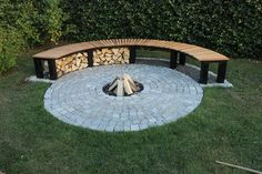 DIY Project for the backyard: Garden Fireplace with Bench for late night chillin'. Description from pinterest.com. I searched for this on bing.com/images