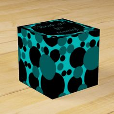 Custom teal black circle dots wedding favor box