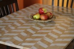 Chic on a Shoestring Decorating: DIY Herringbone Table Makeover, Guest Post by Twin Dragonfly Designs Furniture Making, Diy Furniture, Concrete Furniture, Diy Upcycling, Diy Table, Wood Table, Herringbone Pattern, Furniture Inspiration, Painted Furniture