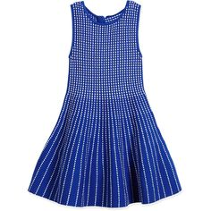 Milly Minis Dot-Striped Knit Fit-and-Flare Dress (1.998.825 IDR) ❤ liked on Polyvore featuring dresses, blue, blue dress, vintage knit dress, sleeveless dress, vintage day dress and graduation dresses