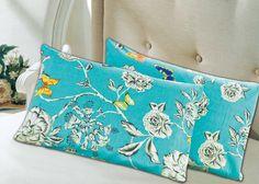 Tache 2 Piece Cotton Blue Butterfly Wonderland Flora Colorful Pillowcase