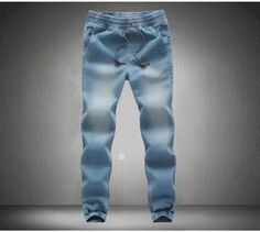 Denim Jogger Pants Mens Sweatpants, Light Blue, Dark Blue