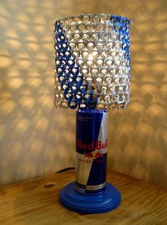 Red Bull Can Lamp with Blue Striped Anodized by LicenseToCraft, $40.00