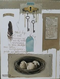 Mariaan Kotze Mixed Media Art, Whimsical, The Past, Collage, Abstract, Simple, Frame, Artist, Painting