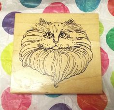 Big fluffy kitty cat face rubber stamp wood mounted long haired cat Pets crafts #ILoveRubberStamps #CatsFelines