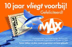 """Advertentie """"Tuvala Media"""" 10 jarig bestaan in Broadcast magazine. Ontworpen door Jochem Albrecht van Reclamebureau Holland"""