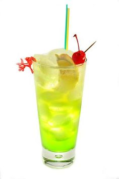 Tokyo Iced Tea. Like a Long Island Iced Tea but with Midori! (also lots of other awesome drinks)