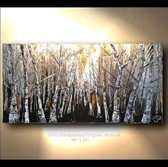 Original Painting Rustic Wall decor Brown Gold Tan White Birch Aspen Tree Landscape Abstract Multi Panel Texture Artwork Fine art canvas OTO